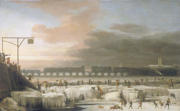 """The frozen Thames"", 1677. Painter: Abraham Hondius."